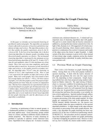 Fast Incremental Minimum-Cut Based Algorithm for Graph Clustering