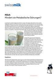 Milch. Mindert sie Metabolische Störungen? - Swissmilk
