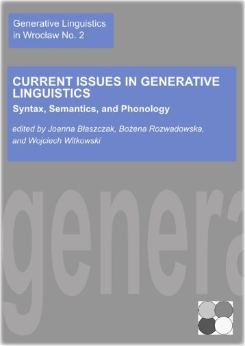 Current Issues in Generative Linguistics