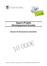Dossier de demande de subvention - Appel à projets - Ville de ...