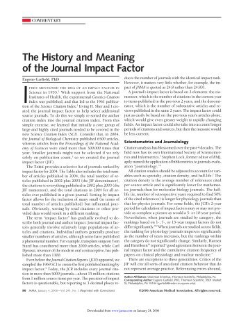 The History and Meaning of the Journal Impact Factor