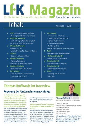 Inhalt - Limberger Fuchs Koch & Partner