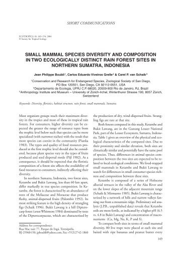 small mammal species diversity and composition in two ecologically ...