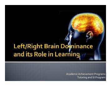 Left-Right Brain Dominance - Academic Achievement Programs