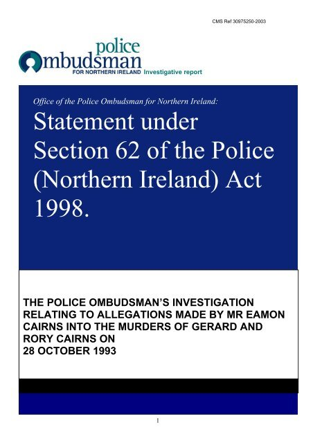 Office of the Police Ombudsman for Northern Ireland - CAIN