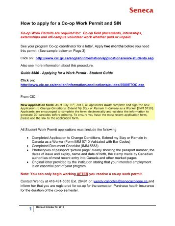How to apply for a Co-op Work Permit and SIN - Seneca College