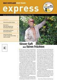 Süsser Saft aus fairen Früchten - Max Havelaar