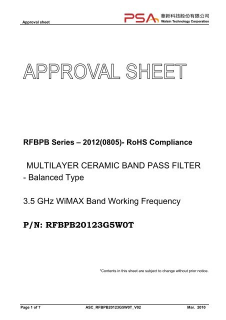 MULTILAYER CERAMIC BAND PASS FILTER - Balanced Type 3 5