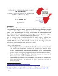 Africa Civil Society Communique - International Health Partnership