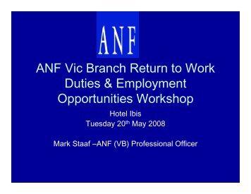 ANF Vic Branch Return to Work Duties & Employment Opportunities ...