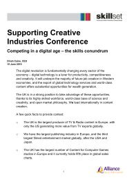 Supporting Creative Industries Conference 15 June 2010 - Skillset