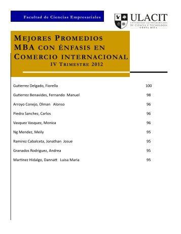 mejores promedios mba con énfasis en comercio internacional - Ulacit