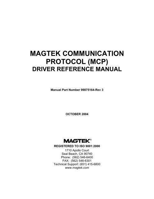 DOWNLOAD DRIVERS: MAGTEK MCP