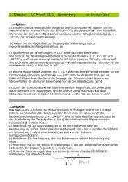 1. Klausur LK Physik 13/1 Sporenberg Uem c Ue h 2 + = λ