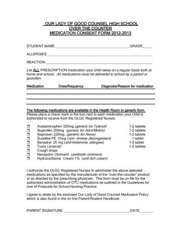 Prescription Over-the-Counter Medication Consent Form