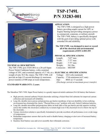 TSP-1749L P/N 33283-001 - MarathonNorco Aerospace