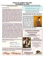 feast of christ the king november 22, 2009 - + Sacred Heart Parish
