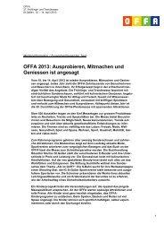 OFFA 2013: Ausprobieren, Mitmachen und Geniessen ist angesagt
