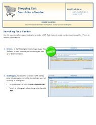 Shopping Cart: Search for a Vendor - Shared Services Home Page