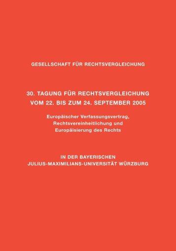 30. Tagung für Rechtsvergleichung 2005 in Würzburg