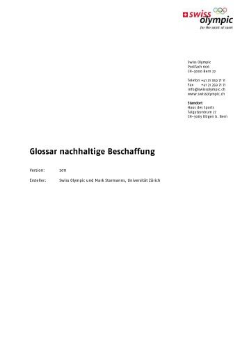 Glossar nachhaltige Beschaffung - Swiss Olympic