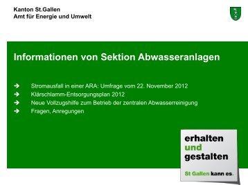Informationen von Sektion Abwasseranlagen (Referat Ch. Baumann)