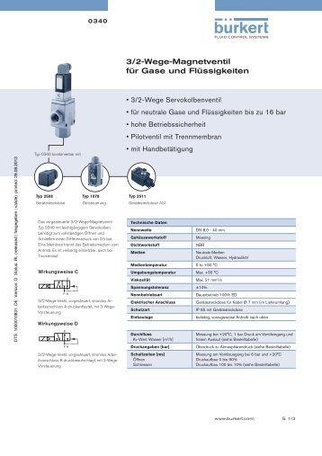3/2-Wege-Magnetventil für Gase und Flüssigkeiten