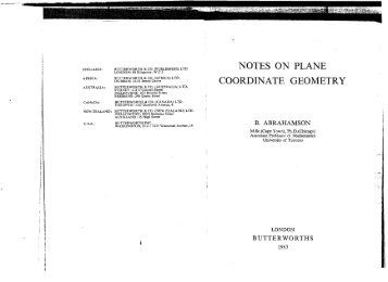 NOTES ON PLANE COORDINATE GEOMETRY