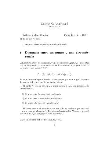 Geometr´ıa Anal´ıtica I 1 Distancia entre un punto y una circunfe ...