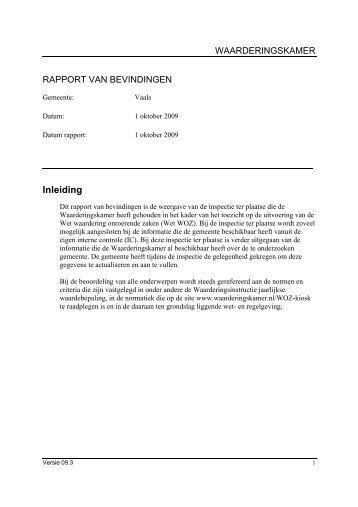 managementsamenvatting inspectie 1-10-2009 - Waarderingskamer