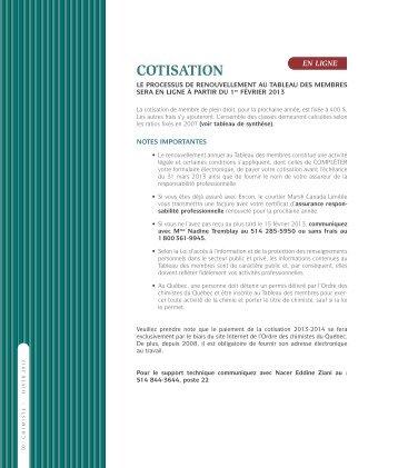 Classes de cotisation 2013-2014 - Ordre des chimistes du Québec