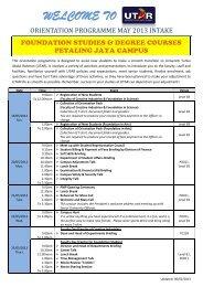 WELCOME TO - Universiti Tunku Abdul Rahman