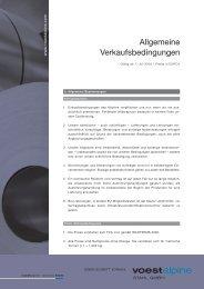 Allgemeine Verkaufsbedingungen der voestalpine Stahl GmbH