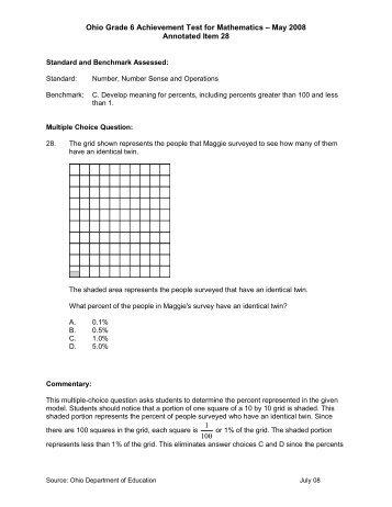 Ohio Grade 6 Achievement Test for Mathematics – May 2008 ...