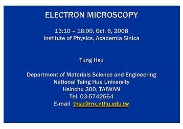 ELECTRON MICROSCOPY - Academia Sinica