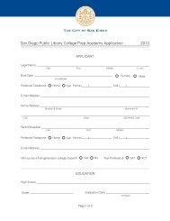 San Diego Public Library College Prep Academy Application 2013