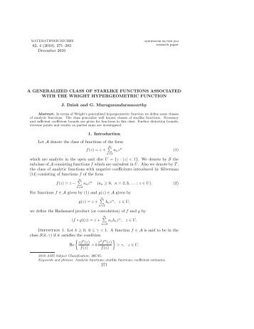 A generalized class of starlike functions associated with the Wright ...