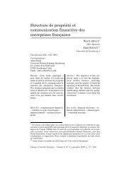 Structure de propriété et communication financière des entreprises ...