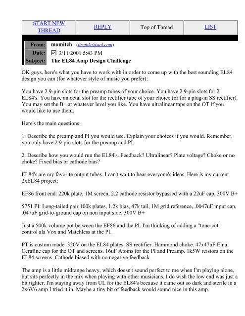 Subject: The EL84 Amp Design Challenge - The Blue Guitar