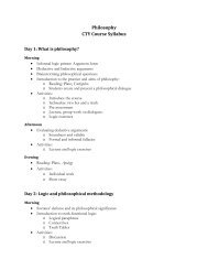 Philosophy CTY Course Syllabus