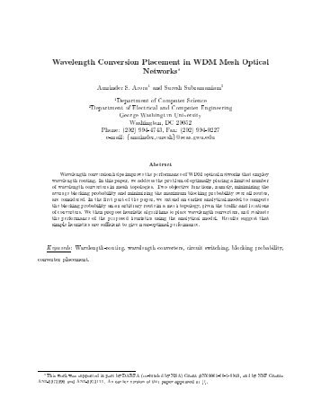 Wavelength Conversion Placement in WDM Mesh Optical Networks