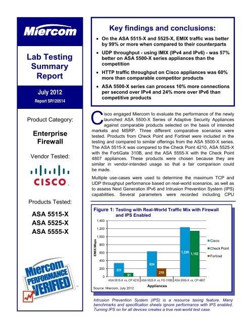 Miercom Report - Cisco ASA 5500-X Series - 14 August 2012