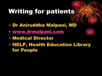 Writing for patients - Journal of Postgraduate Medicine