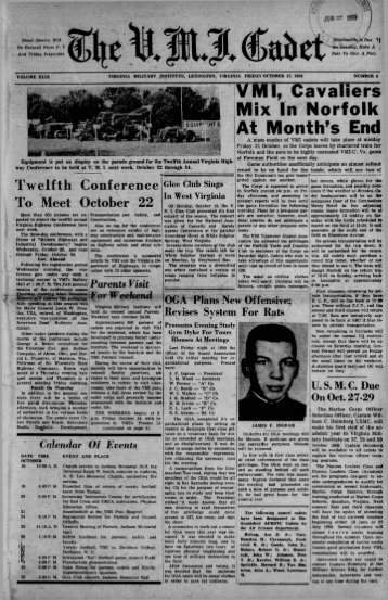 The Cadet. VMI Newspaper. October 17, 1958 - New Page 1 [www2 ...