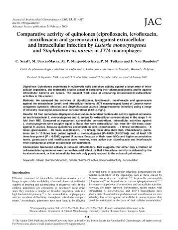 ciprofloxacin, levofloxacin, moxifloxacin and garenoxacin