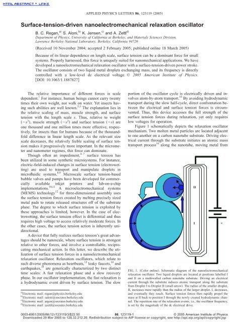 Surface-tension-driven nanoelectromechanical relaxation
