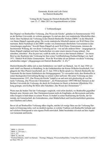 Referat von Karl Martin - Dietrich-Bonhoeffer-Verein