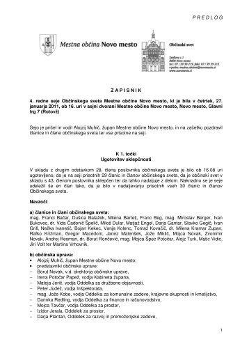 2. Pregled in potrditev zapisnika 4. redne seje Občinskega sveta ...