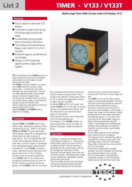 List 2 TIMER - V133 / V133T - TESCH GmbH Wuppertal