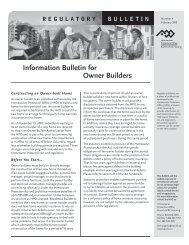Information Bulletin for Owner Builders - Homeowner Protection Office